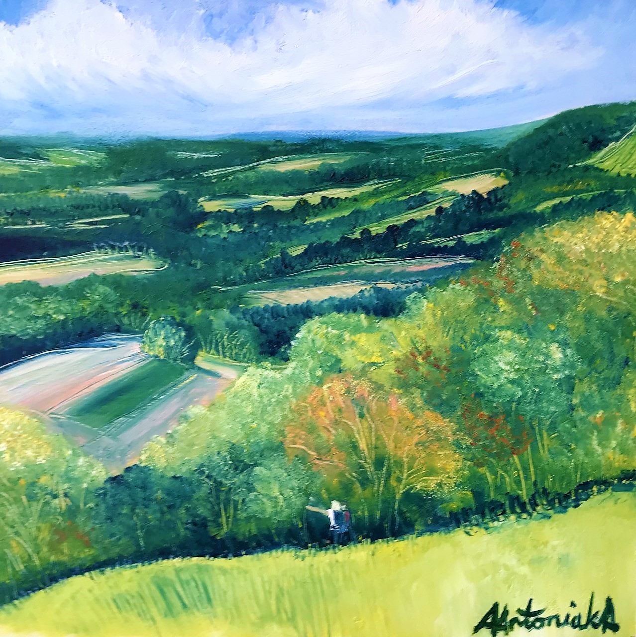 Admiring the View from Reigate Hill, Oil painting, now £90