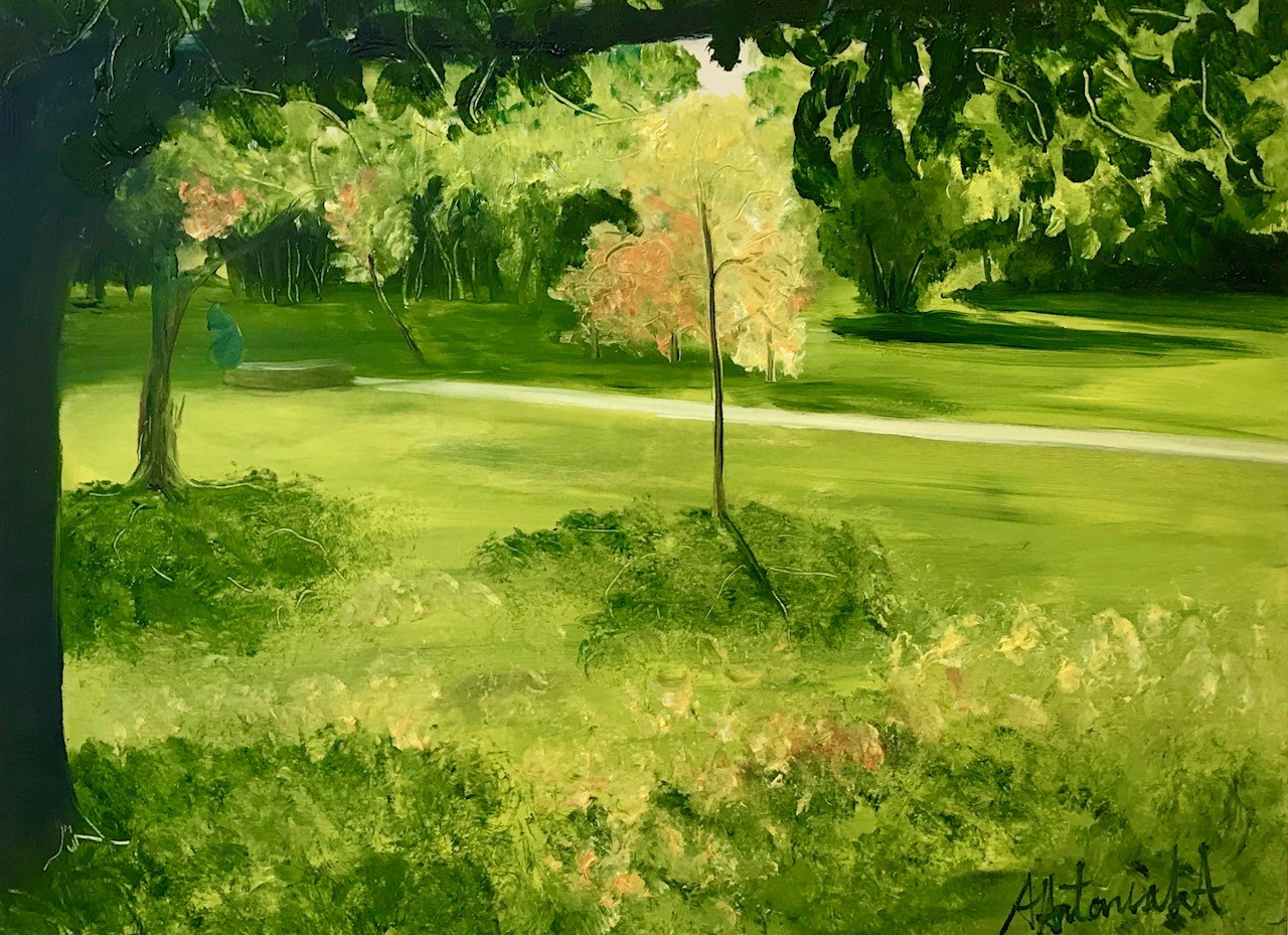 Autumn Starts at Priory Park, Oil Painting, now £90