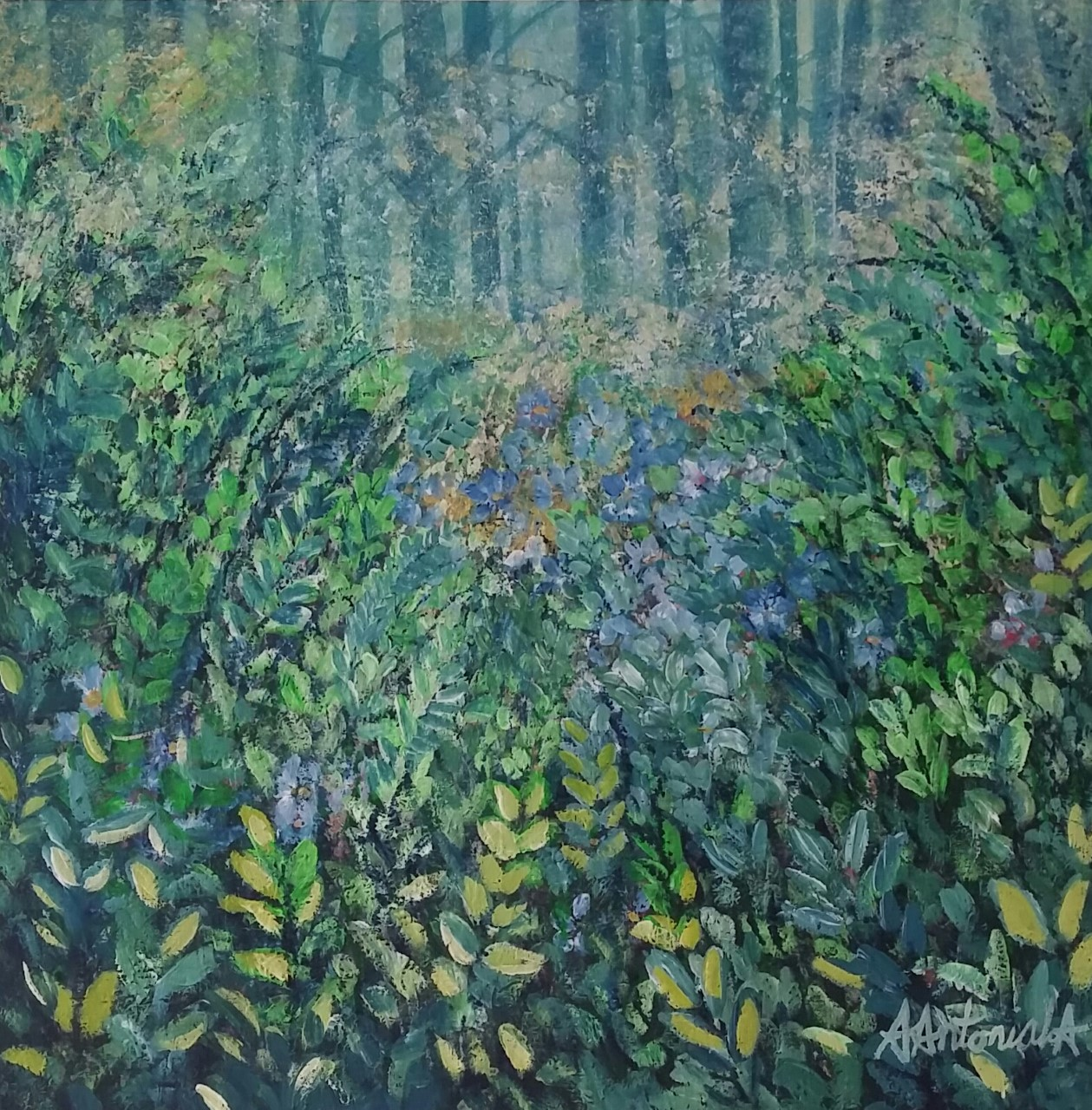Blue Flowers in the Forest, SOLD
