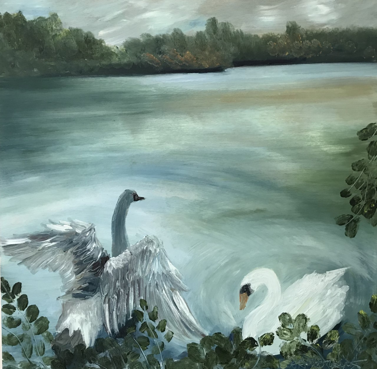 September on Earlswood Lakes, Oil Painting, (SOLD)
