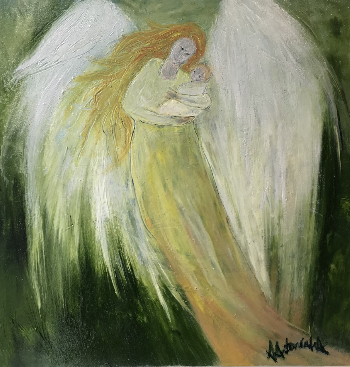 Angels, Mother and Baby, Oil Painting, £90