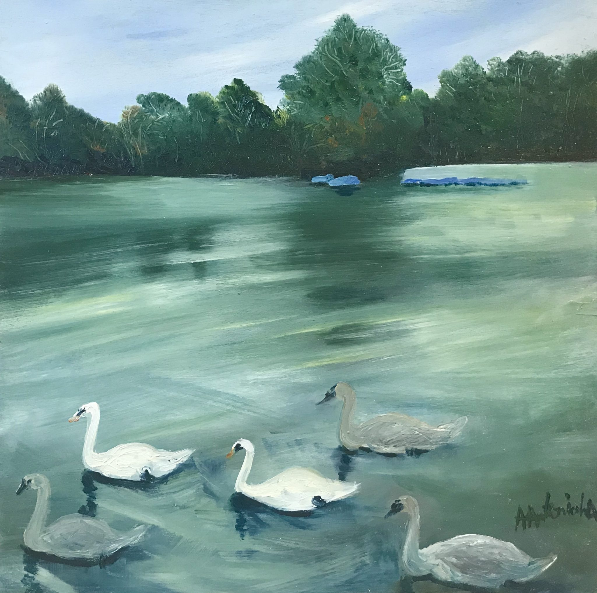 Swan family, Autumn Time on Earlswood Lakes, Oil Painting, NOW £90
