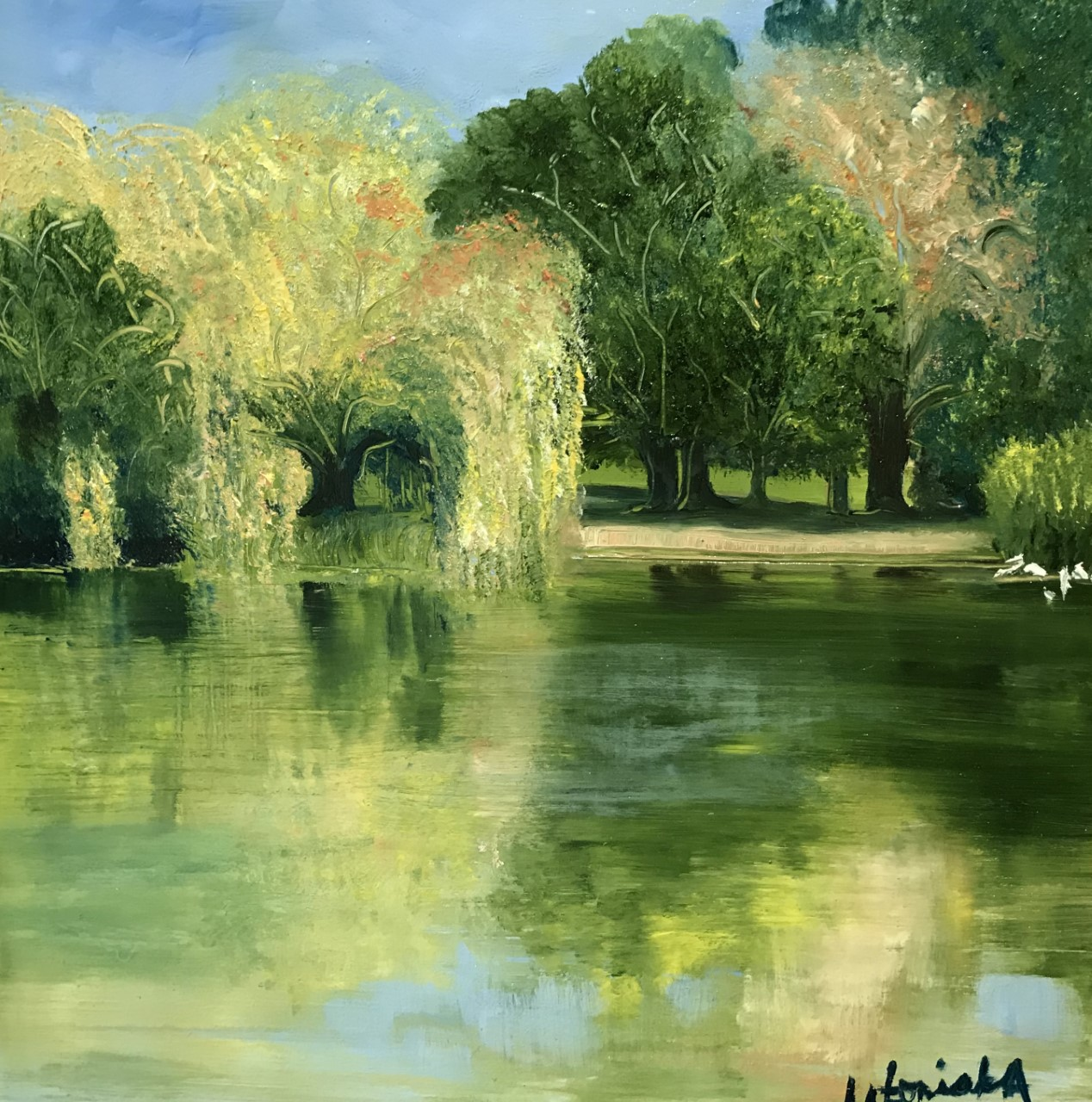 Late September Reflections, Priory Park, Oil Painting, £90