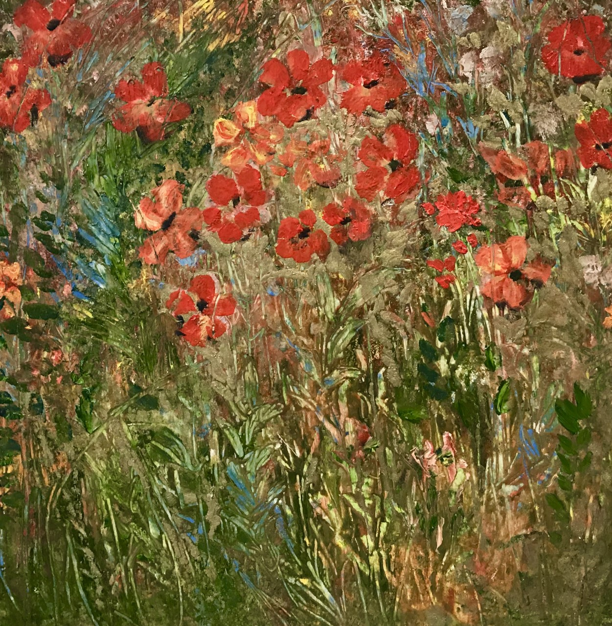 Little Red Flowers with Gold, Oil Painting, £60, SOLD