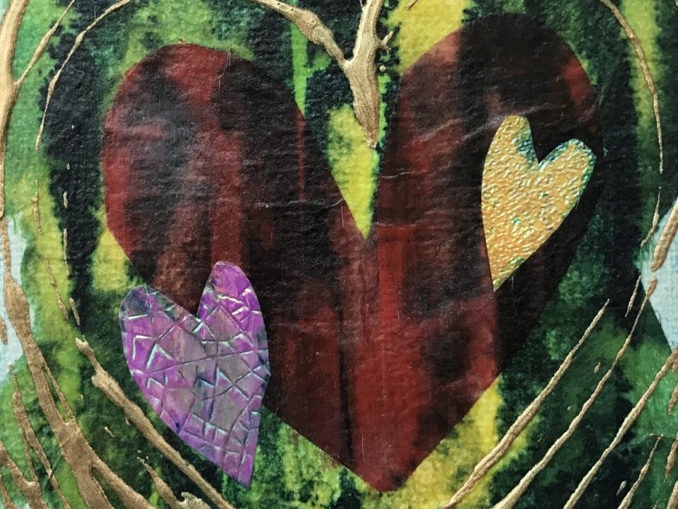 Love Surrounds, small collage, £15, (sorry, now SOLD)