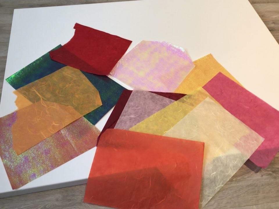 Starburst Process, 1) Select iridescent and handmade paper