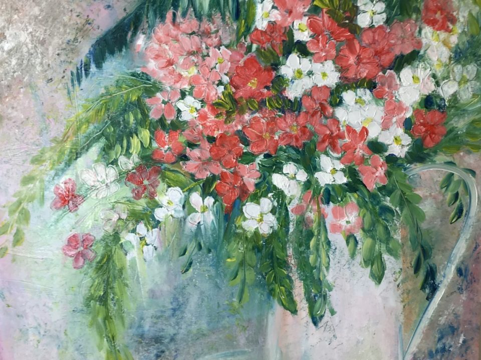 Vase of Pink and White Flowers, Oil Painting, £200, SOLD