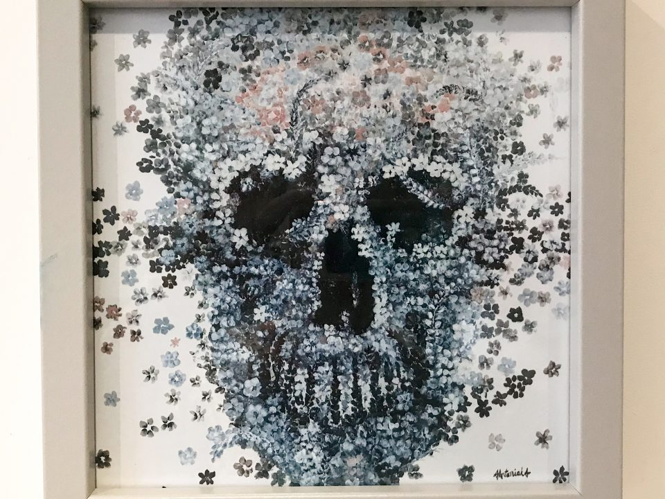 Flower Meadow Skull (framed print) 20 x 20cm