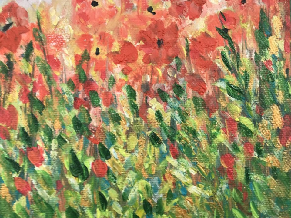 Red Flowers, Gold and Green Leaves, (sorry, now SOLD)