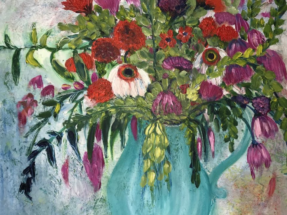 Vase of Purple and Red Flowers