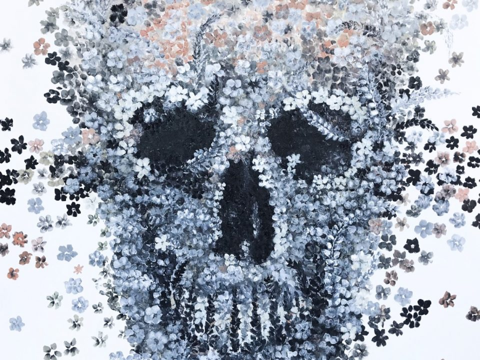 Flower Meadow Skull, (unframed print), 20 x 20cm
