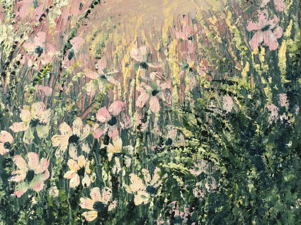 Wild Flowers, Pink, Oil Painting, £45, SOLD