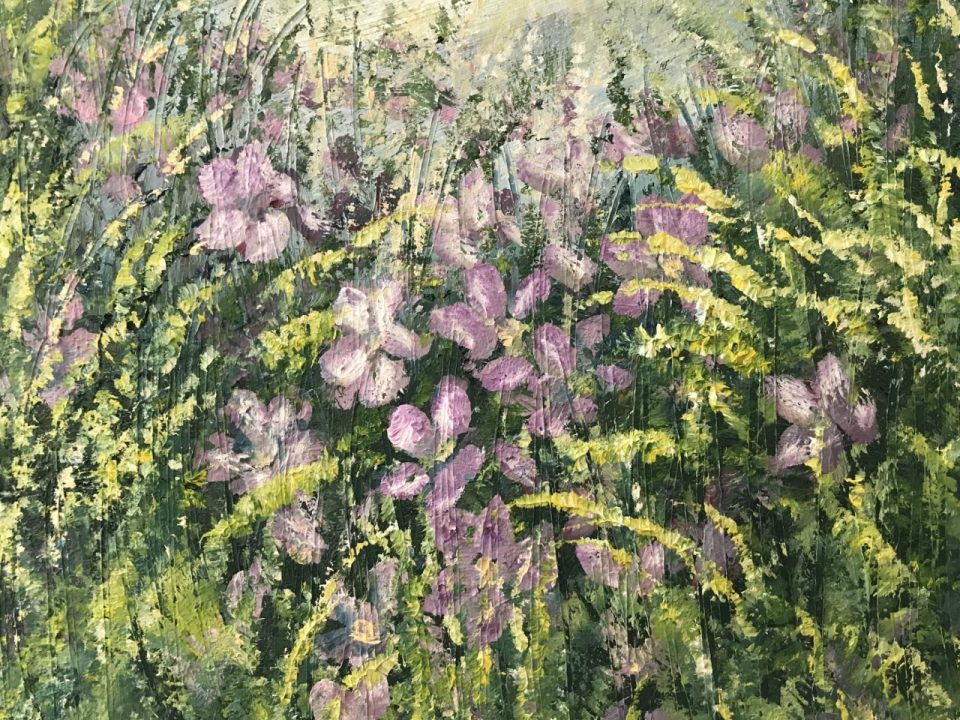 Wild Flowers, Purple, Oil Painting, £45, SOLD
