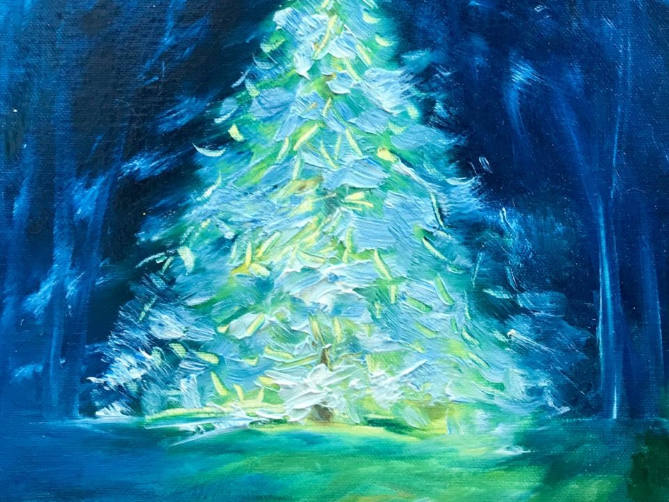 Christmas Tree With Lights, Oil Painting, £65