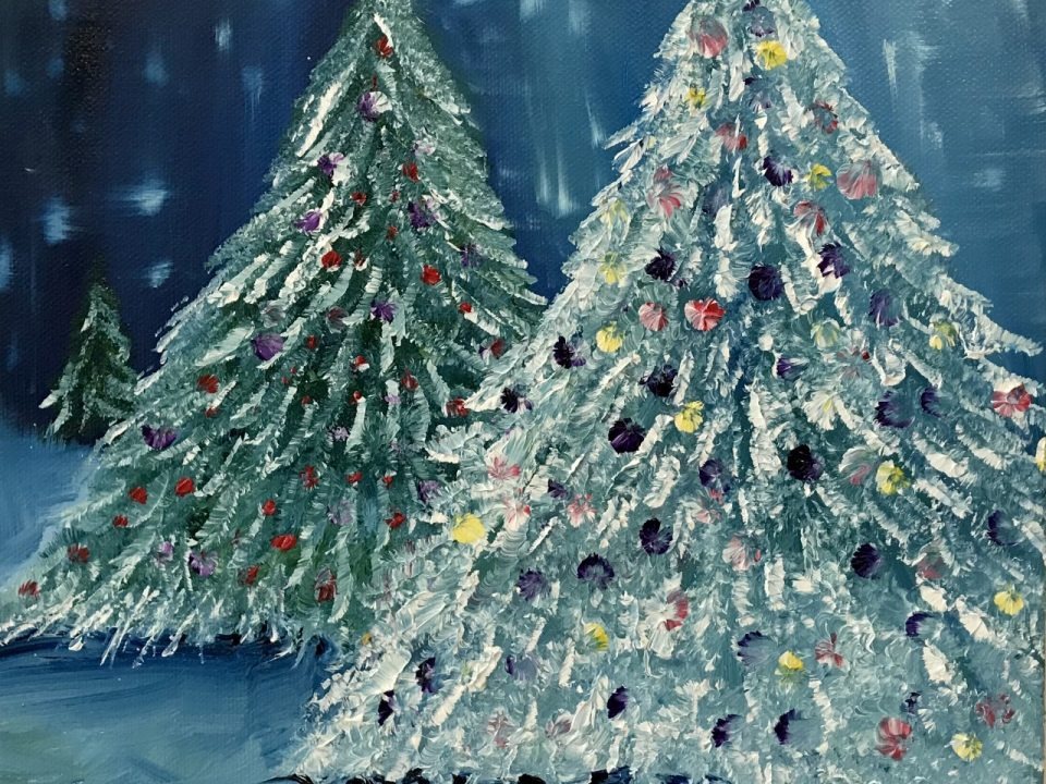 Decorated Christmas Tree, Oil Painting, £65