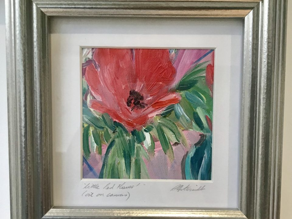 Little Red Flower, (small oil painting), £45