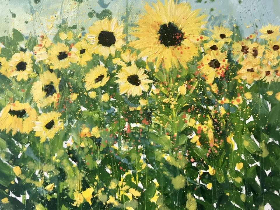 Sunflowers in a Field, Oil Painting, £65