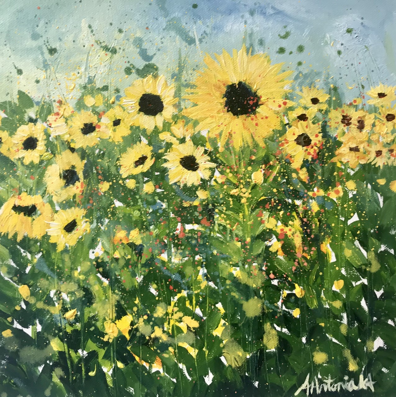 Sunflowers in a Field, Oil Painting, £65, SOLD ...