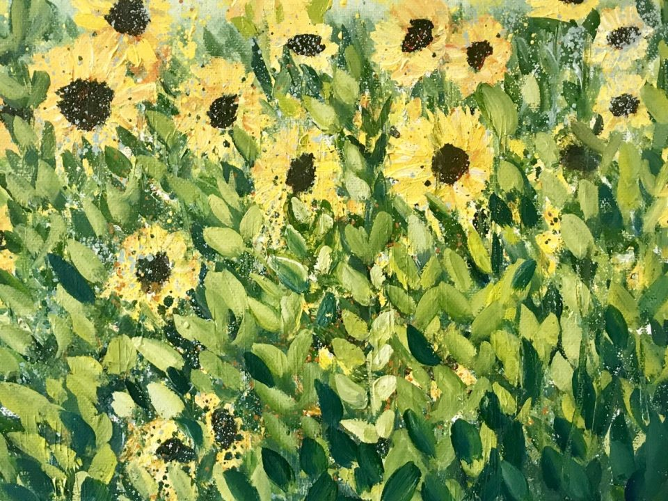 Sunflowers of Priory Farm, Oil Painting, £65