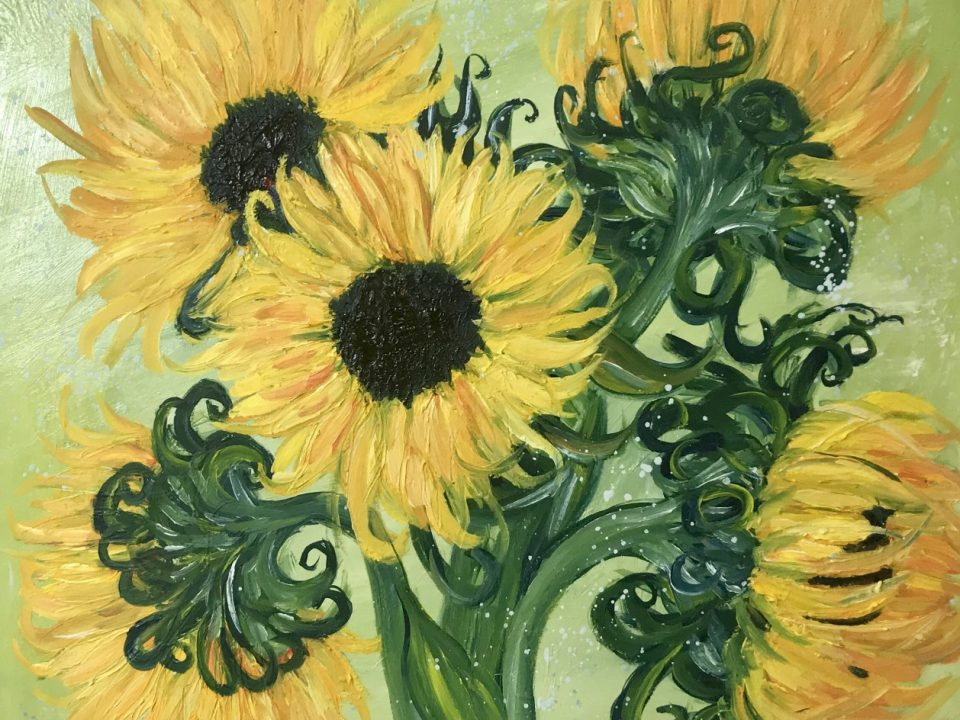 Sunflowers in a Vase, Oil Painting, £180