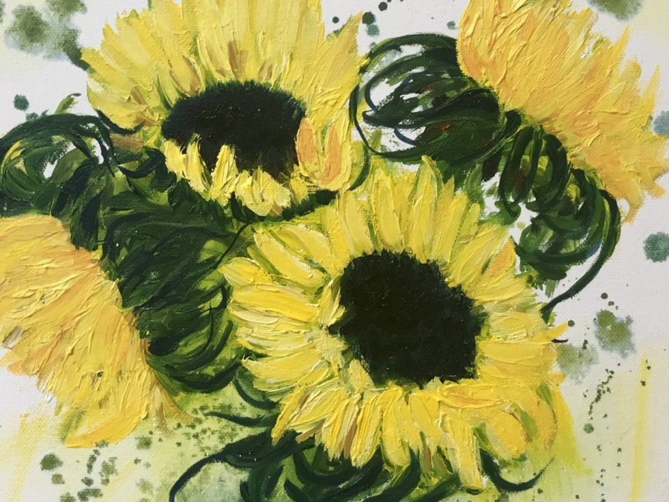 Lively Sunflowers, Oil Painting, £65, Sorry SOLD