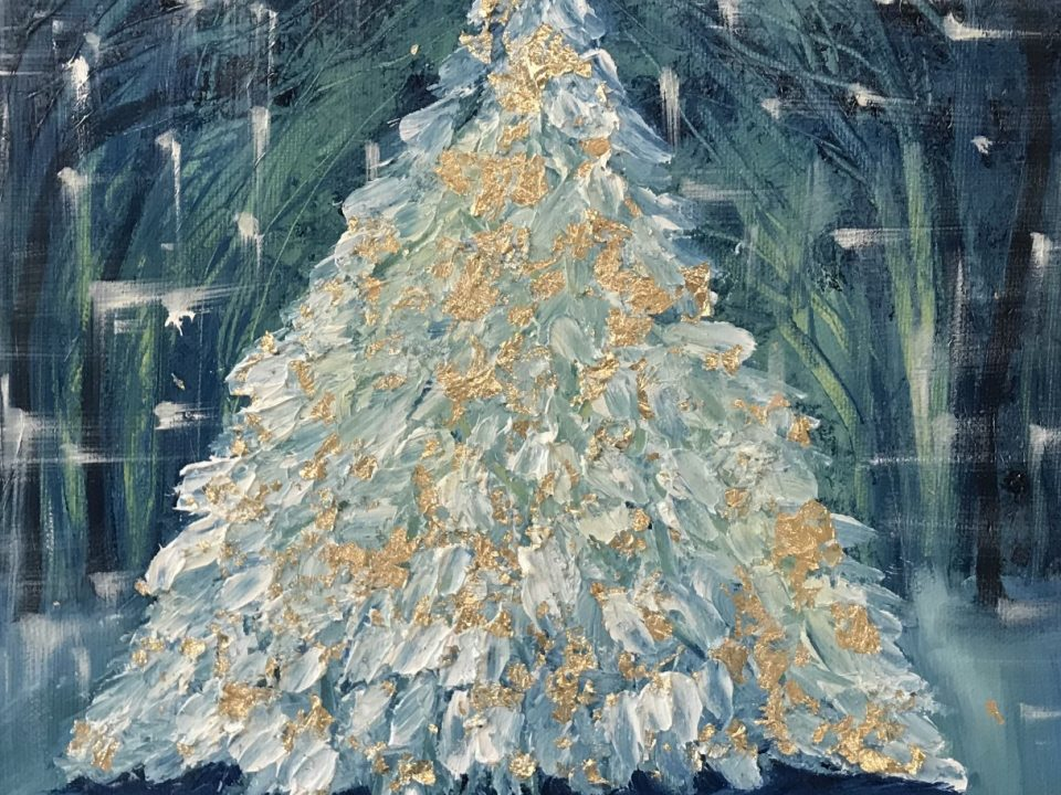 Tree with Gold, Oil Painting, (SOLD)