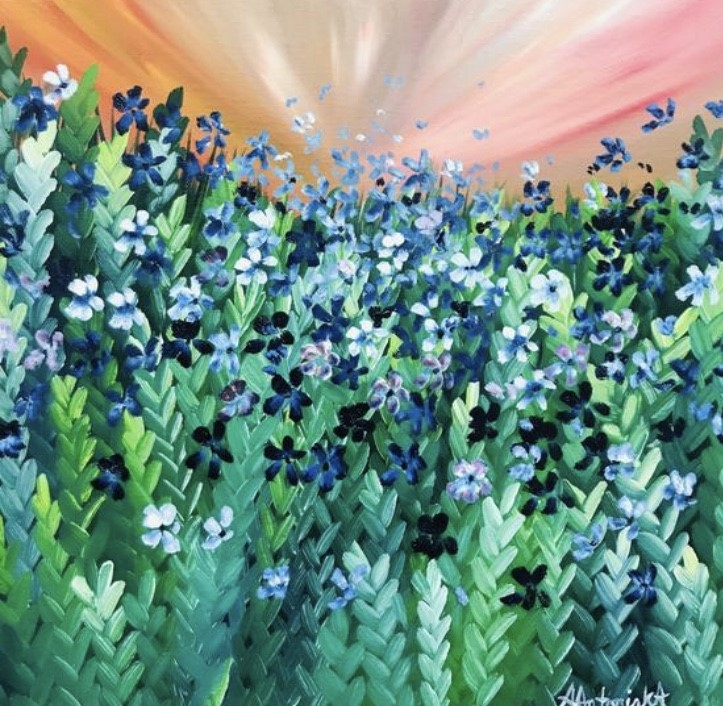 Blue Meadow Flowers, 60 x 60cm £90