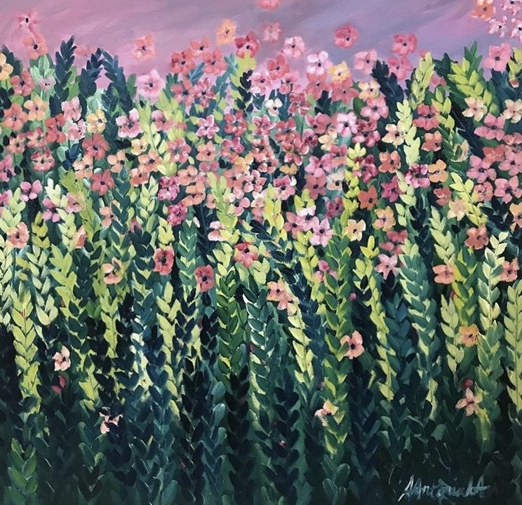 Pink Meadow Flowers, SOLD but commissions welcome based on this piece