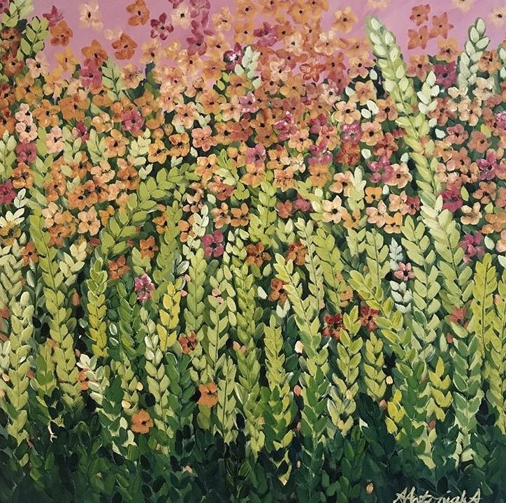 Orange Meadow Flowers, SOLD but commissions welcome based on this piece