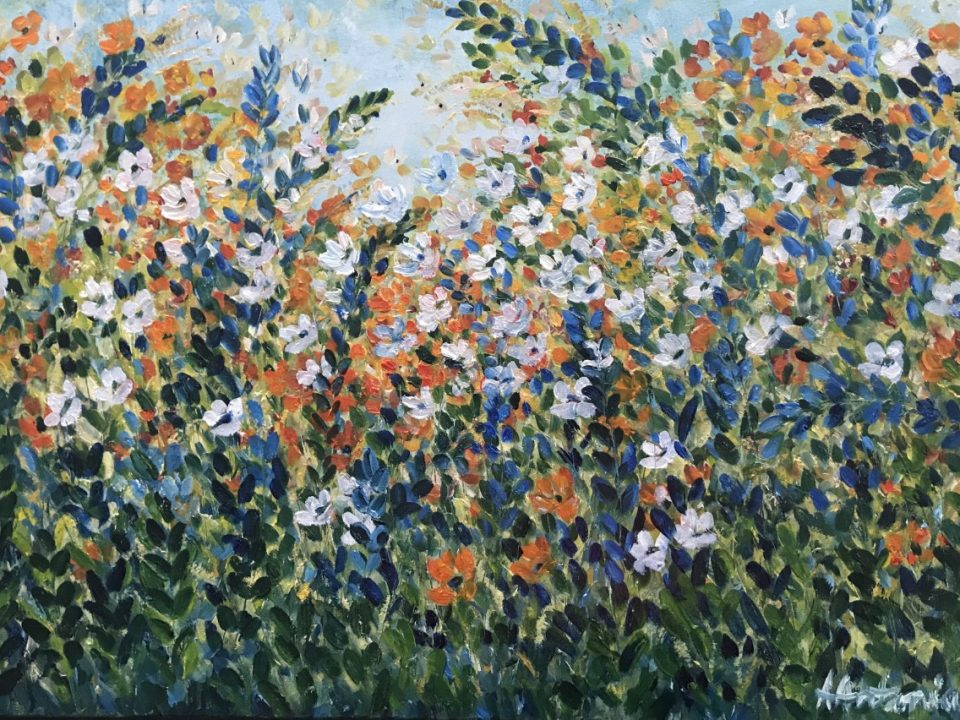 Meadow of Blue, Orange and White, 76 x 50cm, £200