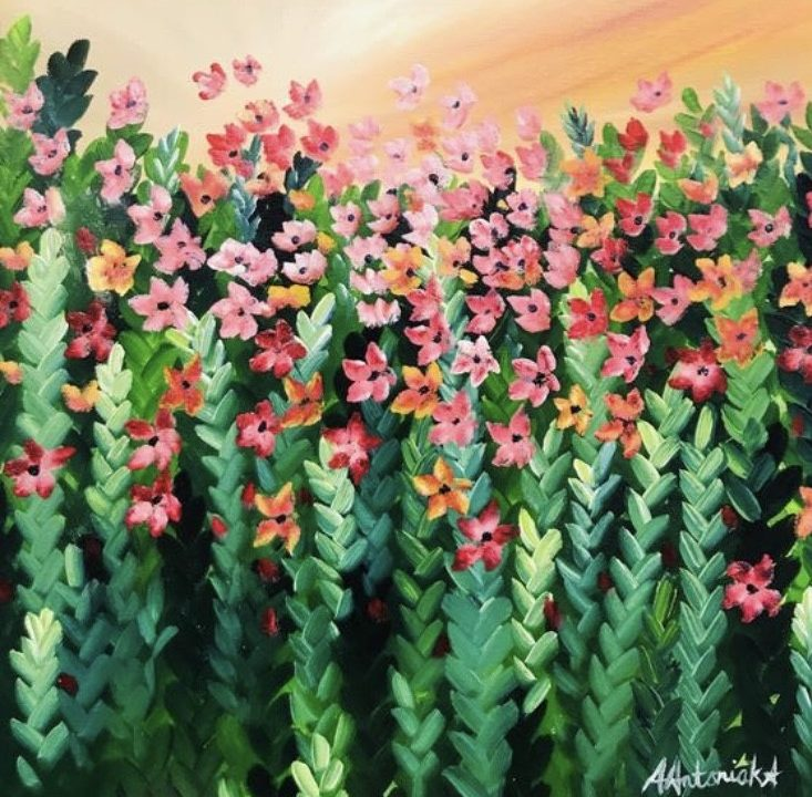 Pink Meadow Flowers, SOLD but commissions are welcome based on this piece