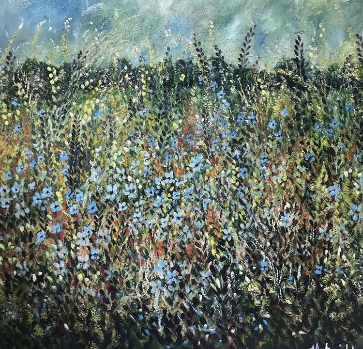 Wild Flowers Dancing, 1m x1m (SOLD)