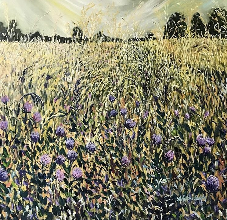 Wild Grasses and Purple Thistles, 1m x 1m, was £500, now £400