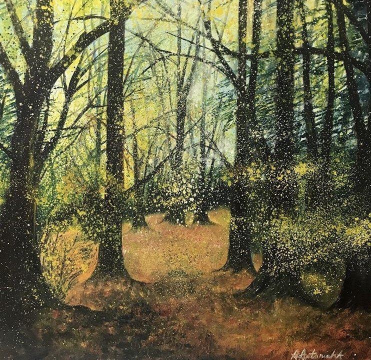 Autumn Walk in Box Hill Woods, 70 x 70cm £270