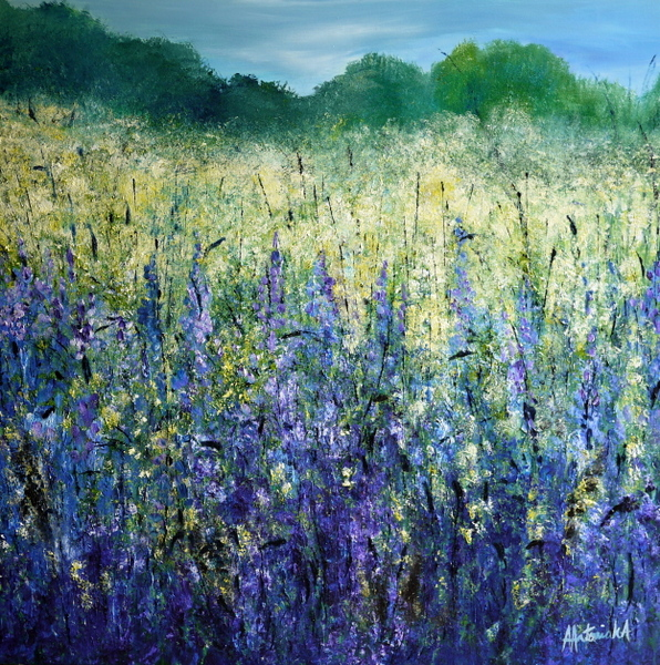 Waves of Purple, 90 x 90cm, SOLD, but happy to take commissions based on this piece