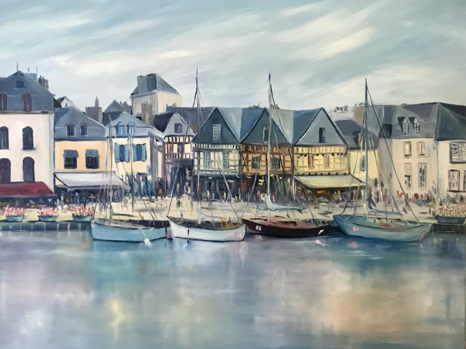 Trinite Sur Mer Harbour, 80 x 80cm, (This painting was commissioned)
