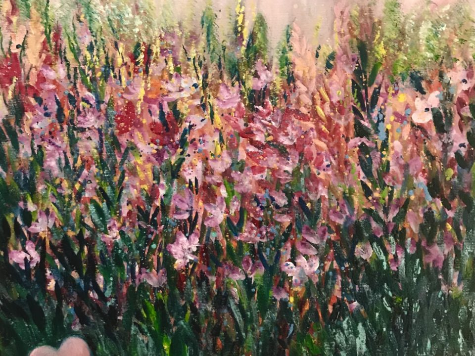 Pink Flower Meadow, 30 x 30cm, £48