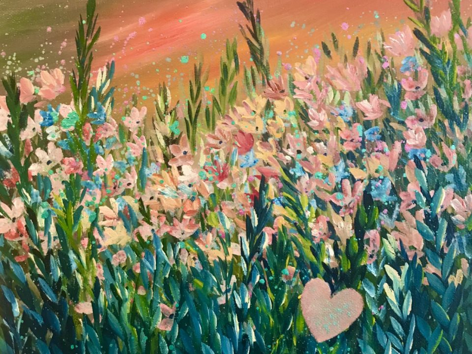 Flower Meadow with Sunset Sky, 30 x 30cm , £48