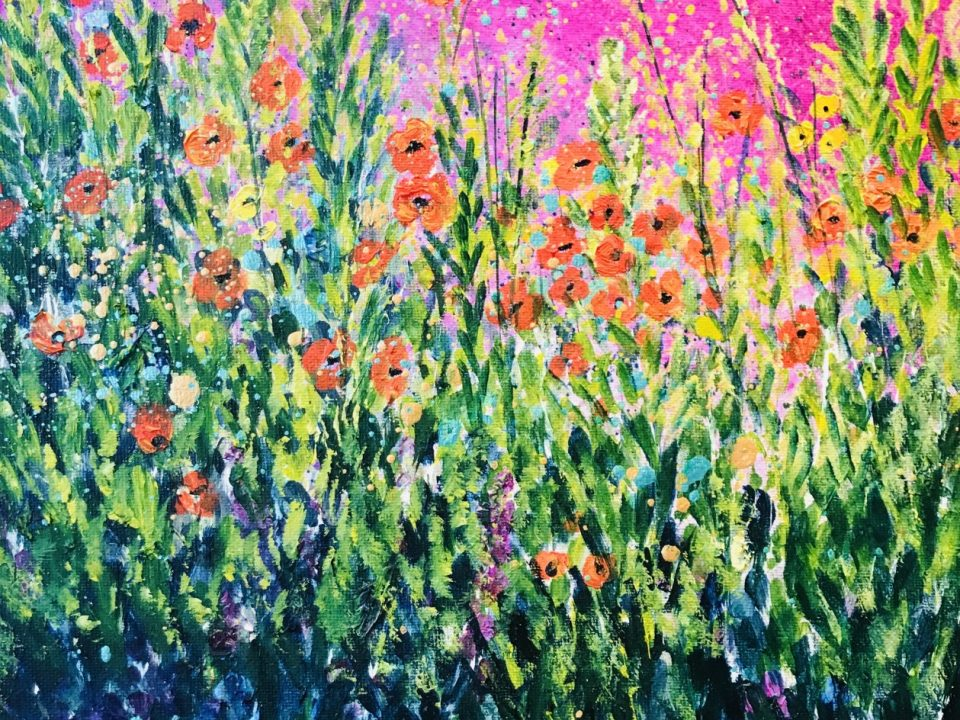 Poppies Against Pink Sky, 30 x 30cm, £48